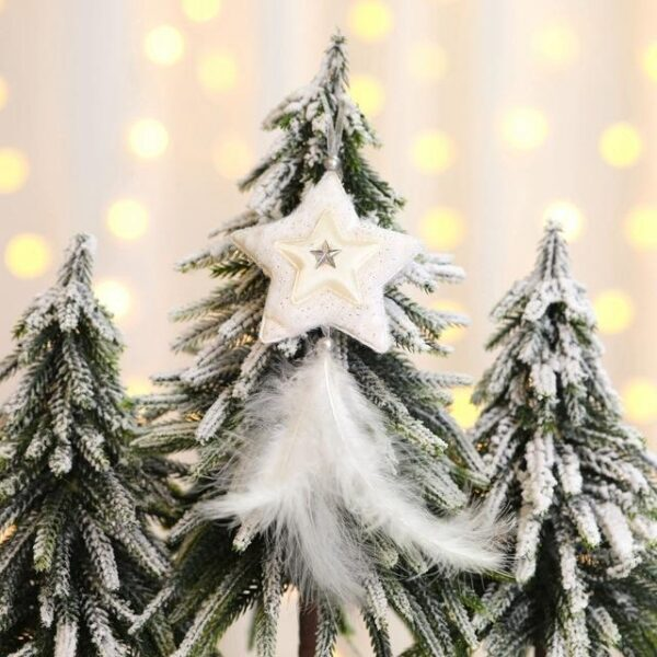 Star, Heart, Tree White feather | Christmas Tree Decoration Ornaments | All For Xmas