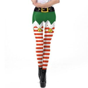 Striped Christmas Elf Leggings | Christmas Apparel | All For Xmas