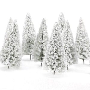 10pcs Snow Capped Trees | Christmas Village Decor | All For Xmas