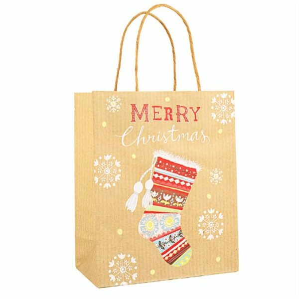12pcs Christmas Kraft Paper Gift Bags | Gift Decor | All For Xmas