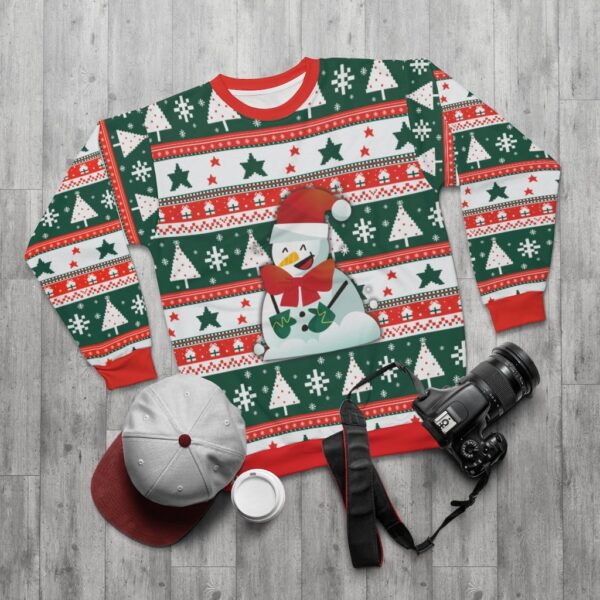 Ugly Christmas Sweater Printed Pullover - Happy Snowman