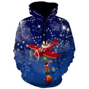 Allover Print Christmas Hoodie - Santa Dropping Presents | Christmas Apparel | All For Xmas