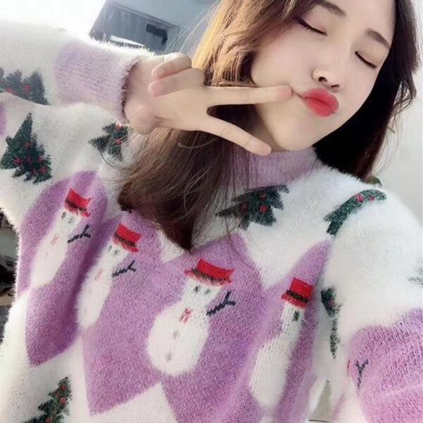 Knitted Oversized Christmas Women Sweater - Trees & Snowman