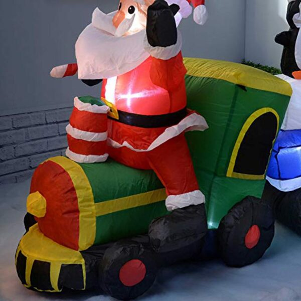 2M-7FT Inflatable Giant Santa Claus On Train with Penguins LED Lighted | Outdoor Decor | All For Xmas