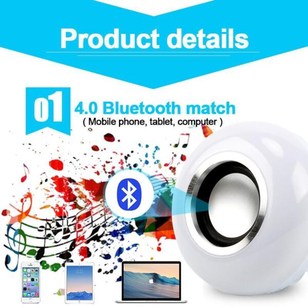 Smart Bluetooth Multicolor LED Bulb Speaker | Wireless Music Playing Dimmable Led Lamp | All For Xmas
