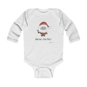 Baby Long Sleeve Bodysuit | Santa I See You | Christmas Apparel | All For Xmas