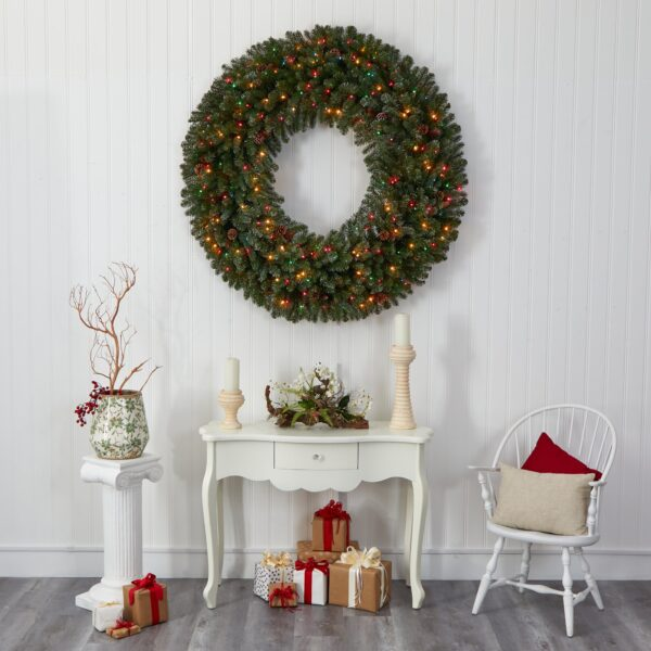 5' Giant Flocked Artificial Christmas Wreath With 280 Multicolored Lights