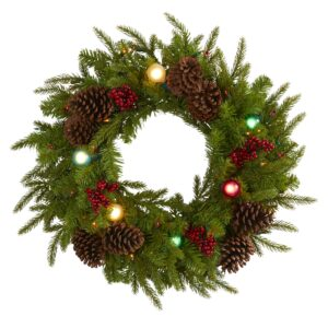 "24"" Christmas Artificial Wreath With 50 Multicolor Lights, 7 Globe Bulbs, Berries & Pine Cones"