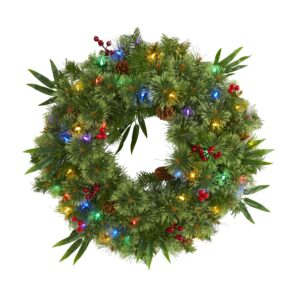 "24"" Mixed Pine Artificial Christmas Wreath With 50 Multicolored LEDs, Berries And Pine Cones"
