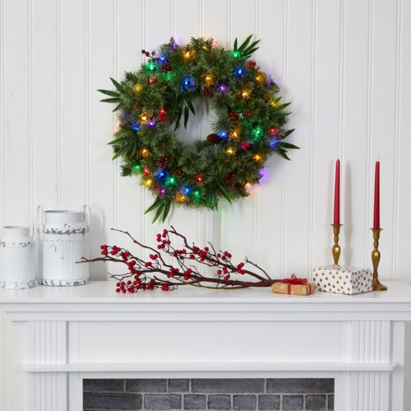 """24"""" Mixed Pine Artificial Christmas Wreath With 50 Multicolored LEDs, Berries And Pine Cones"""