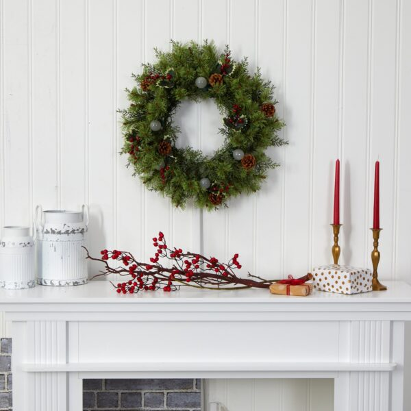 """24"""" Christmas Artificial Wreath With 50 Lights"""