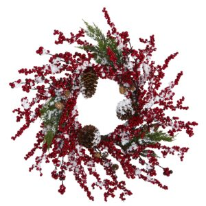 "24"" Frosted Cypress Artificial Wreath With Berries And Pine Cones"