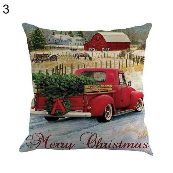 Christmas Cotton Pillow Case Cushion Cover - Car Designs | Home Decor | All For Xmas