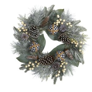 """24"""" Snow Tipped Holiday Artificial Wreath With Berries, Pine Cones And Ornaments"""