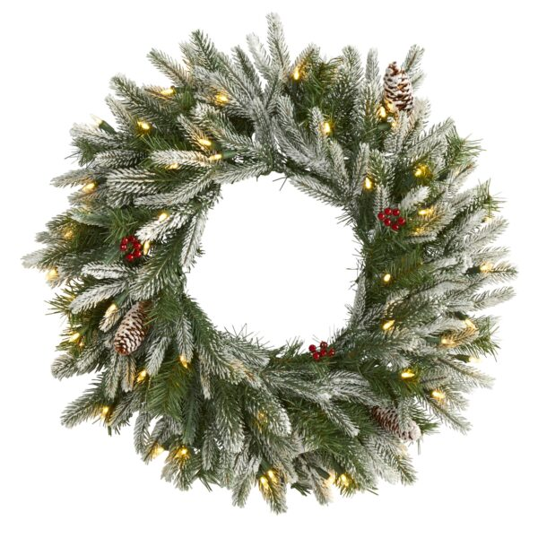 "24"" Snowed Artificial Christmas Wreath With 50 LED Lights & Pine Cones"