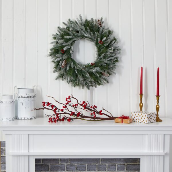 """24"""" Snowed Artificial Christmas Wreath With 50 LED Lights & Pine Cones"""