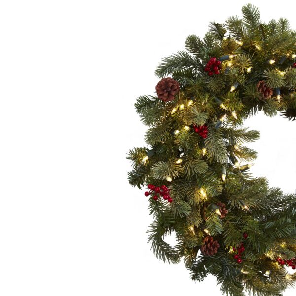 """30"""" Lighted Pine Wreath With Berries & Pine Cones"""