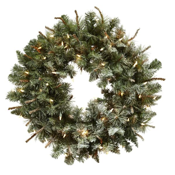 "30"" Lighted Frosted Pine Christmas Wreath"