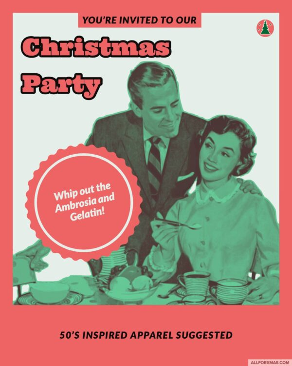 50s Christmas Party Card   Greeting Cards   All For Xmas