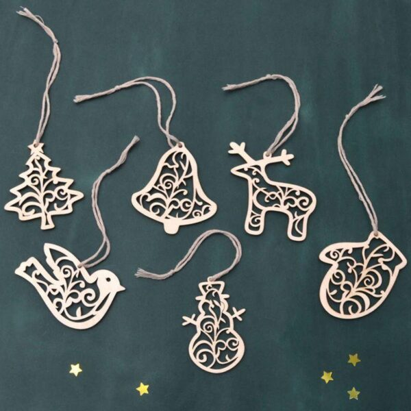 6-piece Wooden Christmas small Pendant Tree Decorations |Christmas Tree Ornaments | All For Christmas