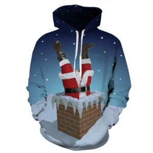 Allover Print Christmas Hoodie - Chimney Santa | Christmas Apparel | All For Xmas