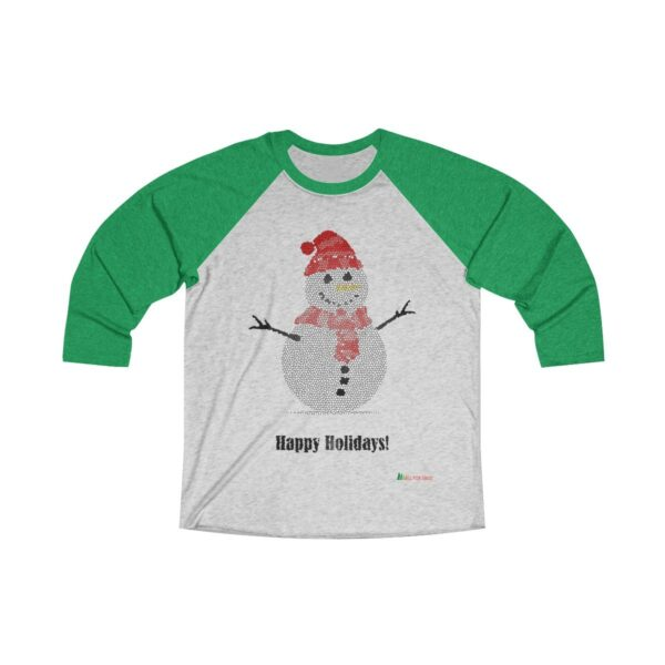 3/4 Sleeve Tee | Snowman Happy Holidays | Unisex Multiple Colors | Christmas Apparel | All For Xmas