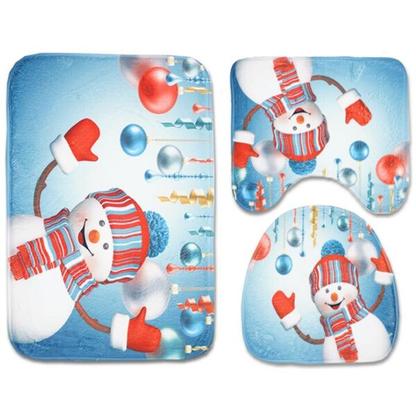 Christmas Pattern Toilet Seat Cover Set   Bathroom Decor   All For Xmas