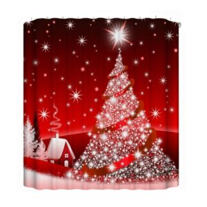 Red Christmas Tree Waterproof Bath Curtain | Bathroom Decor | All For Xmas