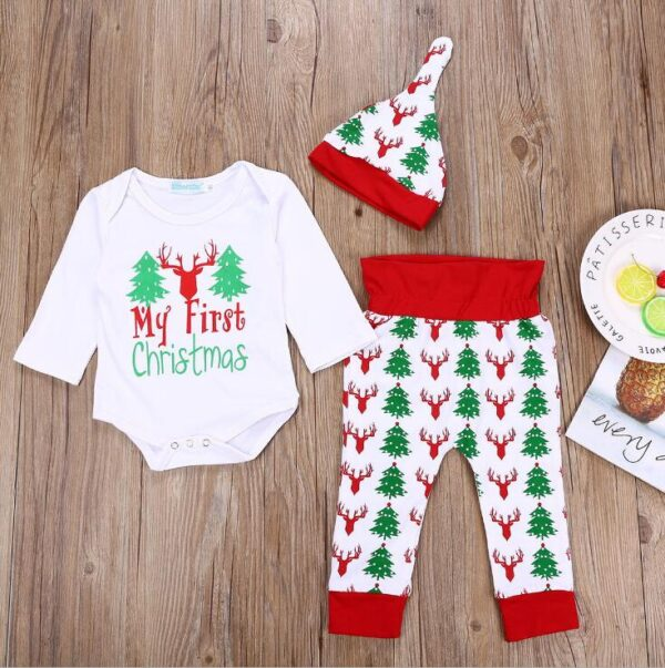 My First Christmas - 3PCs Christmas Outfit Baby Boy Girl Clothes | All For Xmas