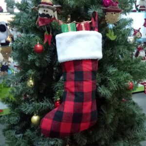 Black Red Plaid Christmas Traditional Stocking | Home Decor | All For Xmas