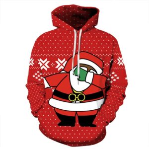 Allover Print Christmas Hoodie - Dancing Santa | Christmas Apparel | All For Xmas