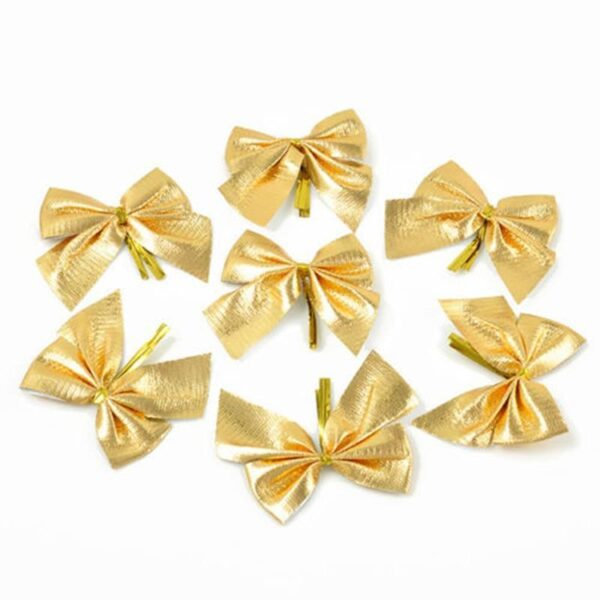 12PCS Pretty Bow Christmas Tree Decoration Gold Silver Red | Tree Decorations | All For Xmas