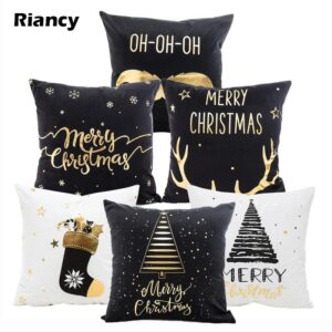 Black White Gold Christmas Cotton Linen Pillow Case Cushion Cover | Home Decor | All For Xmas