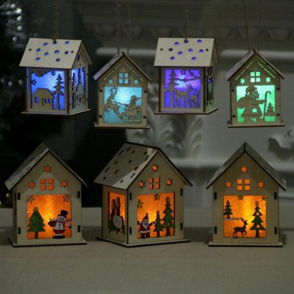 Christmas Decorations For Home Festival Led Light Wood House Hanging Ornaments Holiday Nice New Year Decoration