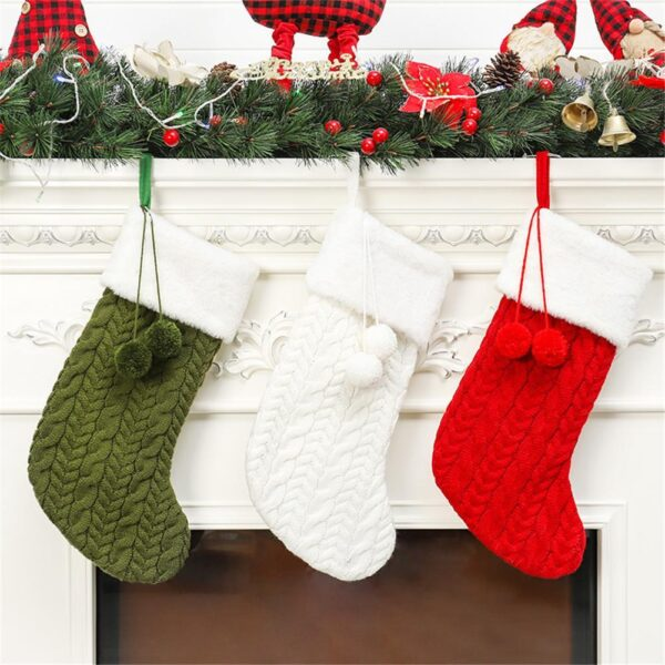 Large Knitted Christmas Traditional Wool Stocking - 3 Colors | Home Decor | All For Xmas