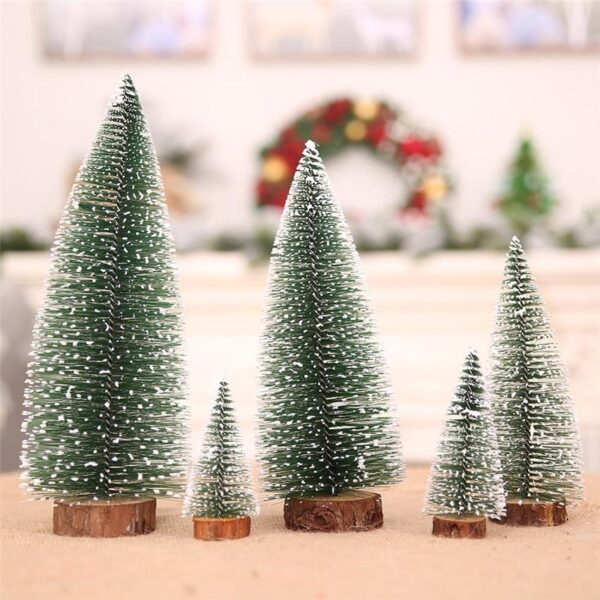 Mini Snow Capped Trees With Wooden Base | Christmas Village Decor | All For Xmas