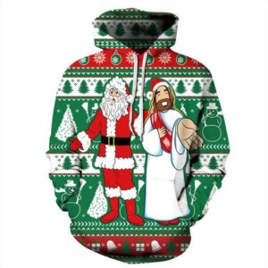Allover Print Christmas Hoodie - Santa And Jesus | Christmas Apparel | All For Xmas