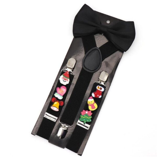 Holiday Adjustable Christmas Suspenders With Bowtie | Christmas Apparel | All For Xmas