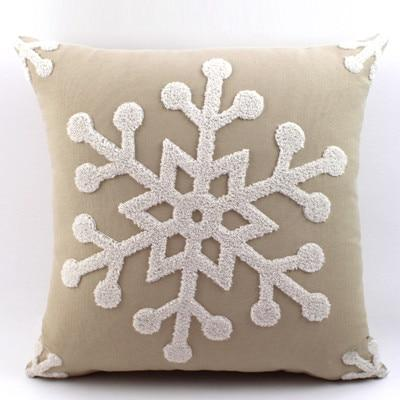 Red White Embroidered Christmas Cotton Pillow Case Cushion Cover | Home Decor | All For Xmas
