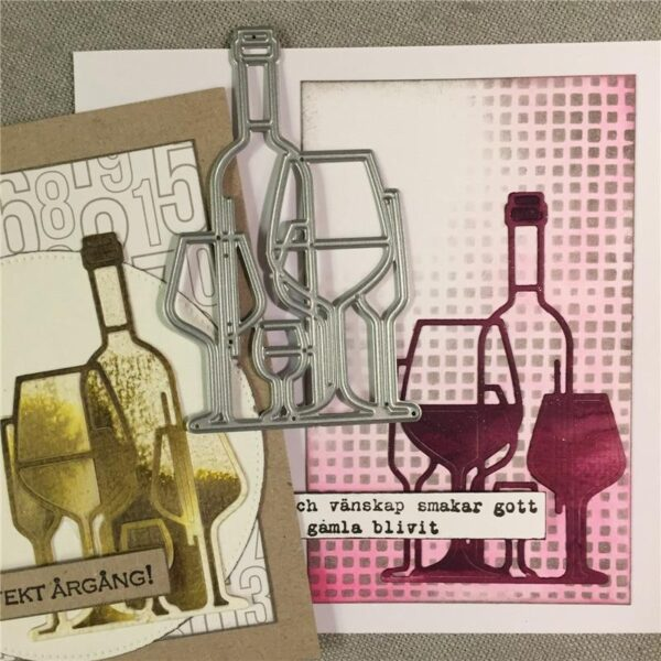 Wine Glasses Bottle DIY Die Cut | Gifts For Christmas | All For Xmas