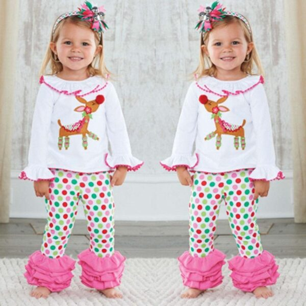 Rudolph The Reindeer Girls Christmas Pajamas Set | Kids Apparel | All For Xmas