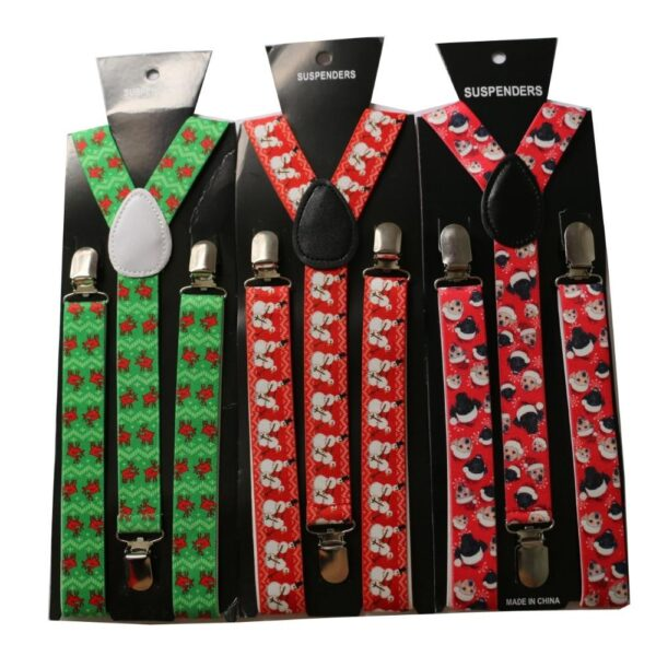Red Or Green Adjustable Clip-on Christmas Suspenders | Christmas Apparel | All For Xmas