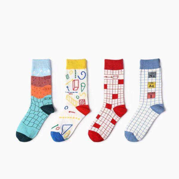Colorful Geometric Cotton Socks - 5 Patterns   Christmas Apparel   All For Xmas