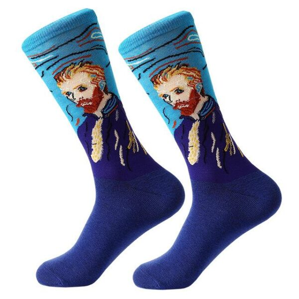 Colorful Cotton Blend Medium Length Socks - Famous Paintings - One Size | Christmas Apparel | All For Xmas
