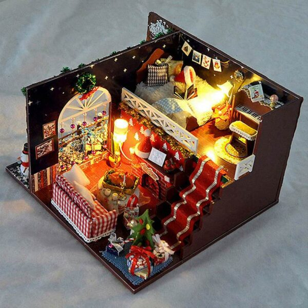Small DIY Wooden Christmas Dollhouse With LED Light | Christmas Decor | All For Xmas