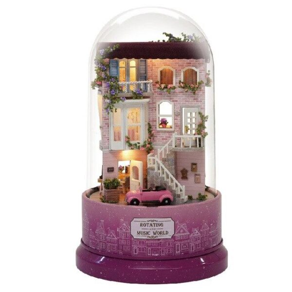 Miniature DIY Music Box Pink DollHouse | Christmas Decorations | All For Xmas
