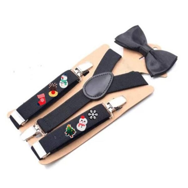 Holiday Adjustable 2.5cm Wide Christmas Suspenders With Bowtie | Children Christmas Apparel | All For Xmas