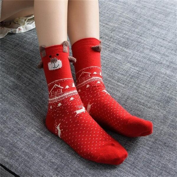 Colorful Cute Cotton Blend Short Christmas Socks - One Size | Christmas Apparel | All For Xmas