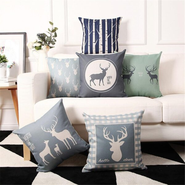 Grey-scale Patterns Christmas Cotton Linen Pillow Case Cushion Cover   Home Decor   All For Xmas