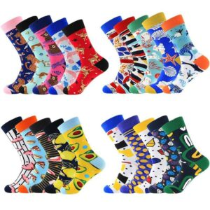 5 Pairs Colorful Cotton Blend Socks - Men Women | Christmas Apparel | All For Xmas